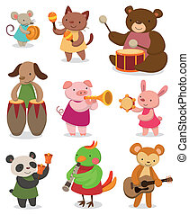 karikatur, tier, spielende musik
