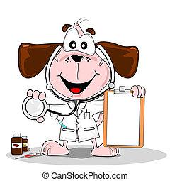 karikatur, tierarzt, doktor