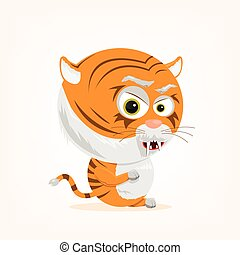 karikatur, tiger