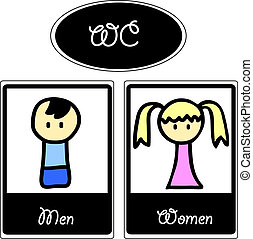karikatur, toilette, symbole