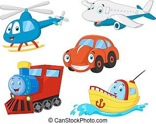 karikatur, transport, sammlung