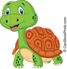 karikatur, turtle, reizend