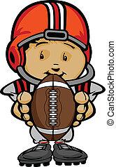 karikatur, vektor, abbildung, von, a, reizend, kind, footballspieler, mit, hände, halten kugel