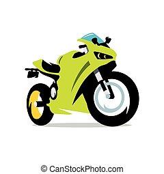 karikatur, vektor, illustration., motorrad