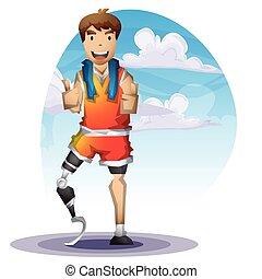 karikatur, vektor, mann, mit, prothesen, bein, mit, getrennt, schichten
