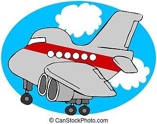 karikatur, verkehrsflugzeug
