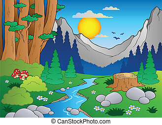 karikatur, wald, landschaftsbild, 2