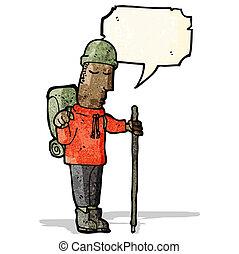 karikatur, wanderer