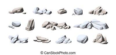 karikatur, weißes, klein, vektor, stones., freigestellt, groß, schwer , zusammensetzung, fest, felsblöcke, graue , natürlich, sammlung, piles., satz, abbildung, rocks., kopfstein, hintergrund