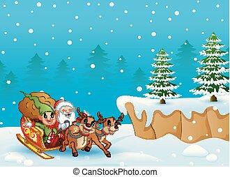 Schlitten Reiten Karikatur Santa Schlitten Abbildung Vektor