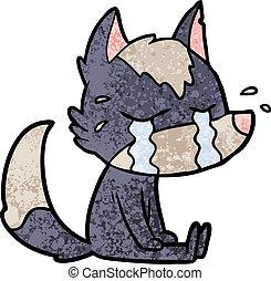 karikatur, weinen, wolf