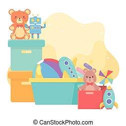 karikatur, wischeimer, spielzeuge, kästen, kinder, viele