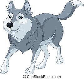 karikatur, wolf