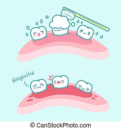 karikatur, zahn, gingivitis, bürste