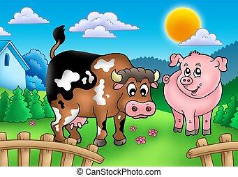 karikatur, zaun, kuh, schwein