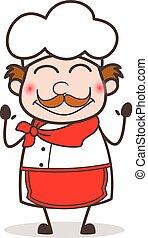 karikatura, červenající se, vrchní kuchař, čelit