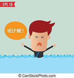 karikatura, člověk obchodního ducha, shouting, jako, nápověda!, -, vektor, ilustrace, -, eps10