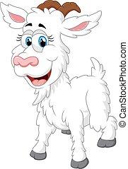 karikatura, šťastný, animální, goat