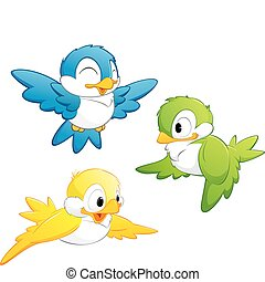 karikatura, šikovný, ptáci