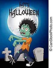 karikatura, živá mrtvola, s, předvečer všech svatých, grafické pozadí