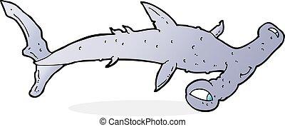 karikatura, žralok kladivoun