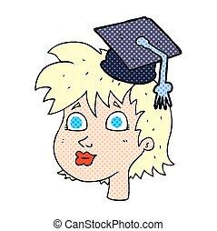 karikatura, absolvent, manželka