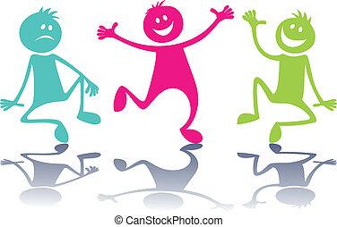 karikatura, barvitý, národ, děti