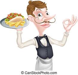 karikatura, bezvadný, kebab, a, pomfrity, číšník
