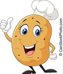 karikatura, brambor, daný, palec up