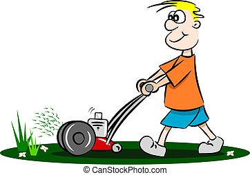 karikatura, chlap, pokosit trávník