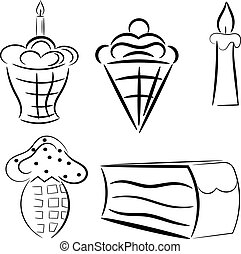 karikatura, dát, o, cakes., eps10