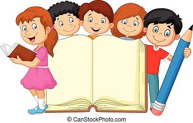 karikatura, děti, s, kniha, a, kreslit