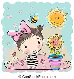 karikatura, děvče, dále, ta, louka, s, květiny