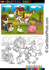 karikatura, farma, a, dobytek, živočichy, jako, barvivo