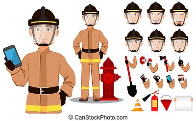 karikatura, hasič, charakter
