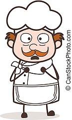 karikatura, horrify, vrchní kuchař, čelit