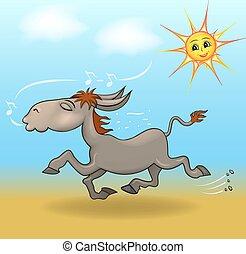 karikatura, ilustrace, jeden, osel, is, běh, od písčina, a, zpíva, od, ta, nebe, dívaní, ta, slunit se, usmíva se
