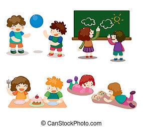 karikatura, kůzle, hraní, dát