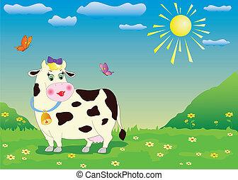 karikatura, kráva