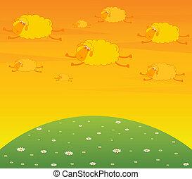 karikatura, mračno, létat, což, usmívaní, sheep