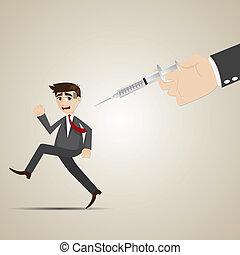 karikatura, obchodník, utéci, od, očkování