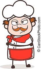 karikatura, rozčarovaný, vrchní kuchař, čelit