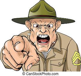 karikatura, rozhněvaný, vojsko, cvičit, seržant, shouting