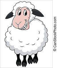 karikatura, sheep, usmívaní