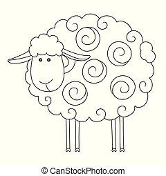 karikatura, sheep