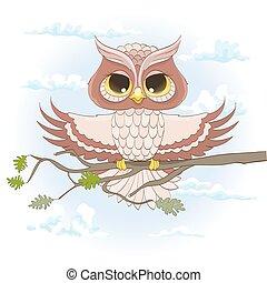 karikatura, sova, sedění, oproti větvit, s, nechráněný, wings., vektor, ilustrace