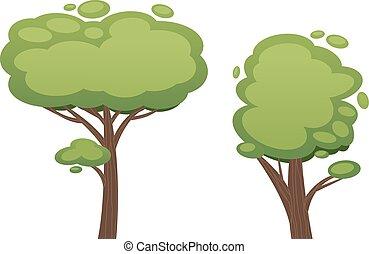 karikatura, strom, vektor, ilustrace
