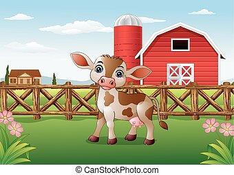 karikatura, tele, s, farma, grafické pozadí
