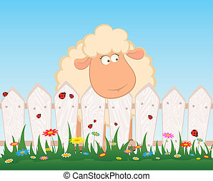 karikatura, usmívaní, sheep, po, jeden, ohradit
