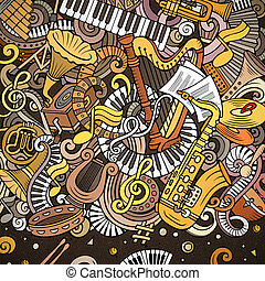 karikatura, vektor, doodles, klasik, hudba, frame., blýskavý...